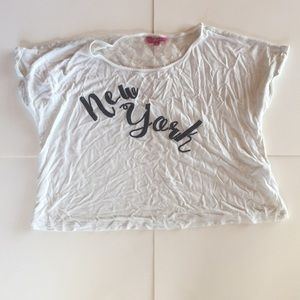 """Tops - WHITE """"New York"""" CROP TOP W/ LACE DETAILING"""